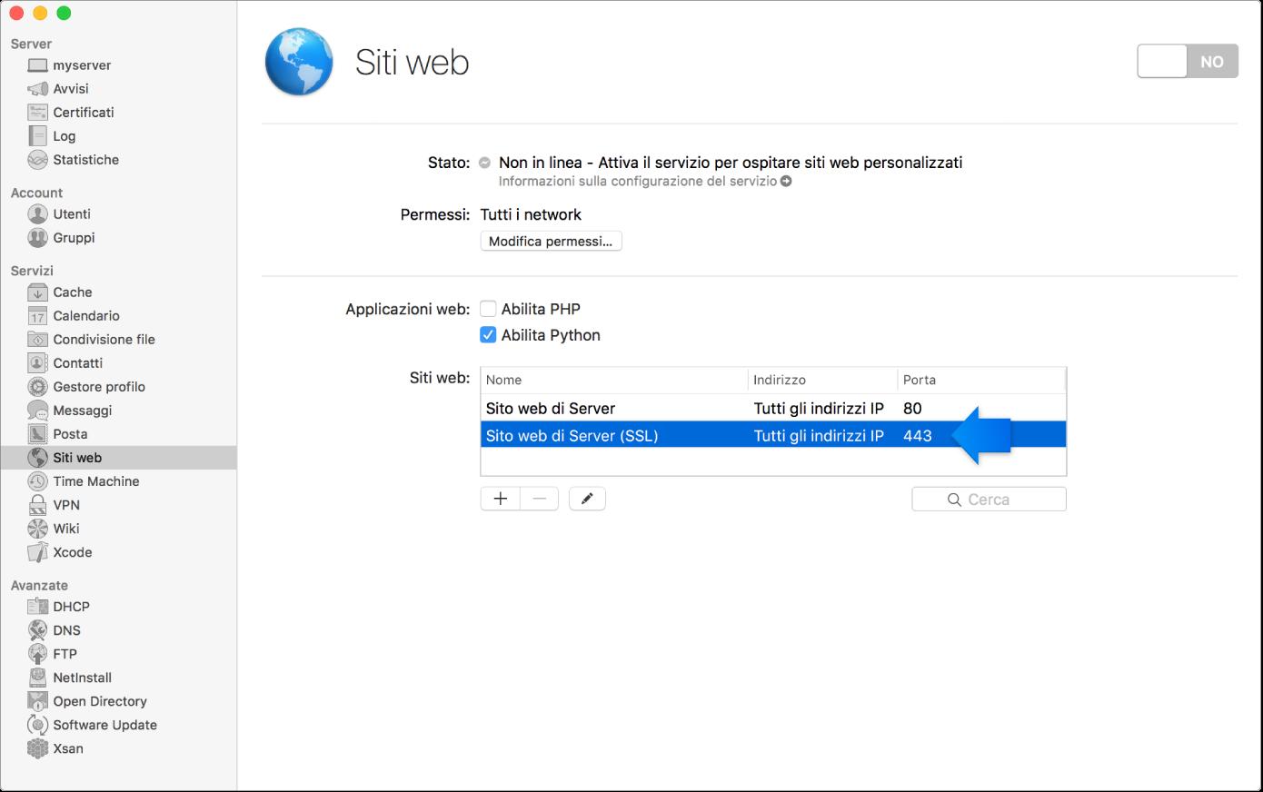 Sito web SSL di default selezionato