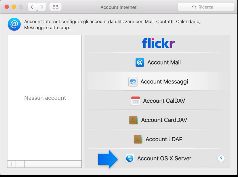 """La freccia indica l'account OS X Server nel pannello """"Account Internet""""."""