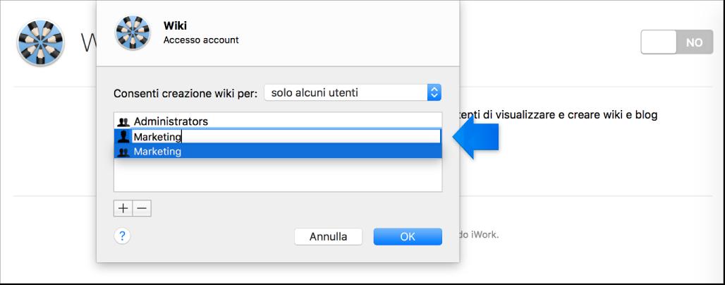 Aggiungi il foglio di utenti e gruppi