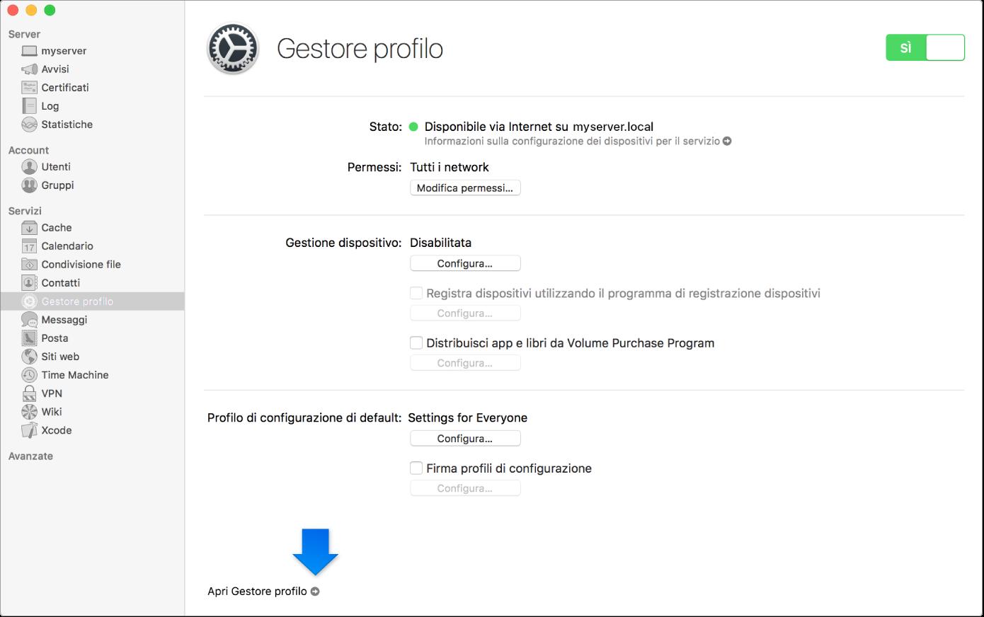 La freccia indica il link all'app web di Gestore profilo.