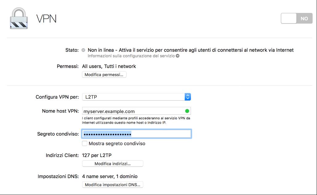 VPN con impostazioni
