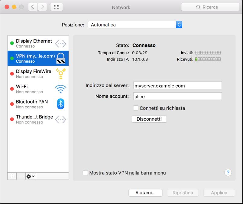 Pannello preferenze Network con VPN selezionata