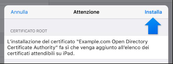 Finestra di dialogo di installazione del profilo iOS.