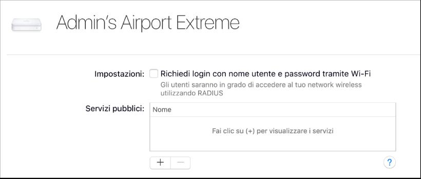 Base AirPort selezionata
