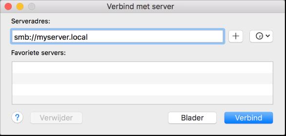 Een afbeelding van het scherm waarin u verbinding maakt ten behoeve van bestandsdeling