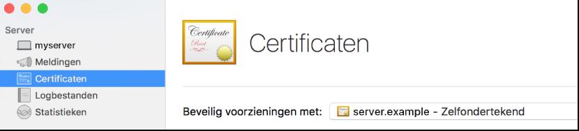 Certificaten geselecteerd in Server