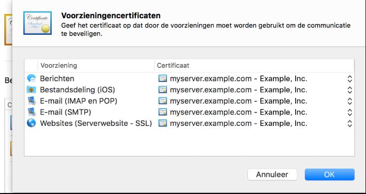 Blad voor het selecteren van een certificaat