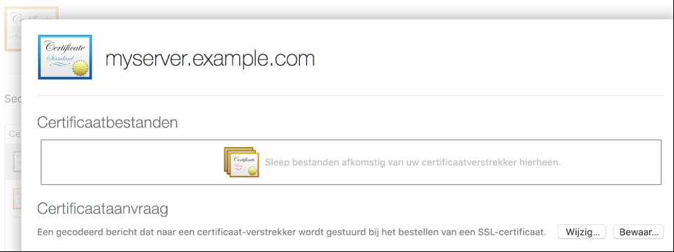 Blad voor het importeren van een certificaat