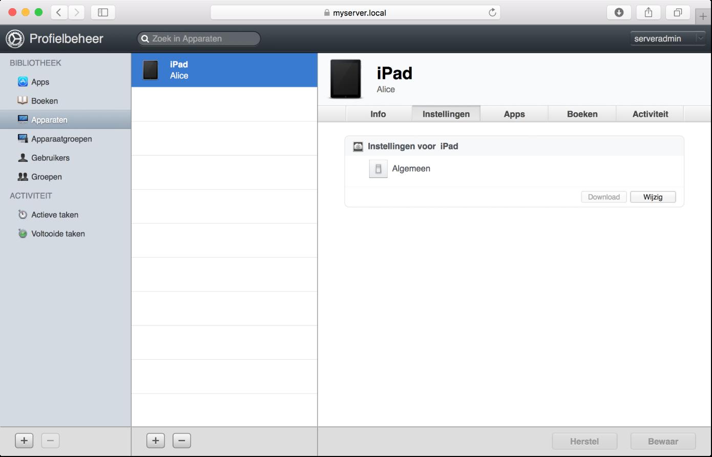 De pagina met apparaatprofielen van Profielbeheer