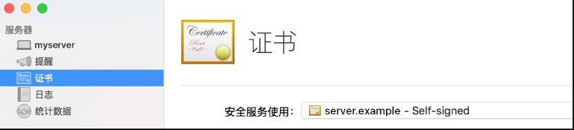 """在 Server 中选择了""""证书"""""""