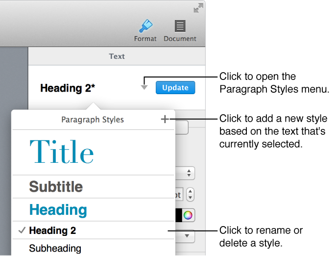 Paragraph Styles pop-up menu, showing controls to add or change a style.
