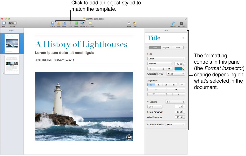 The Pages window with thumbnail view open on the left and the Format inspector open on the right.