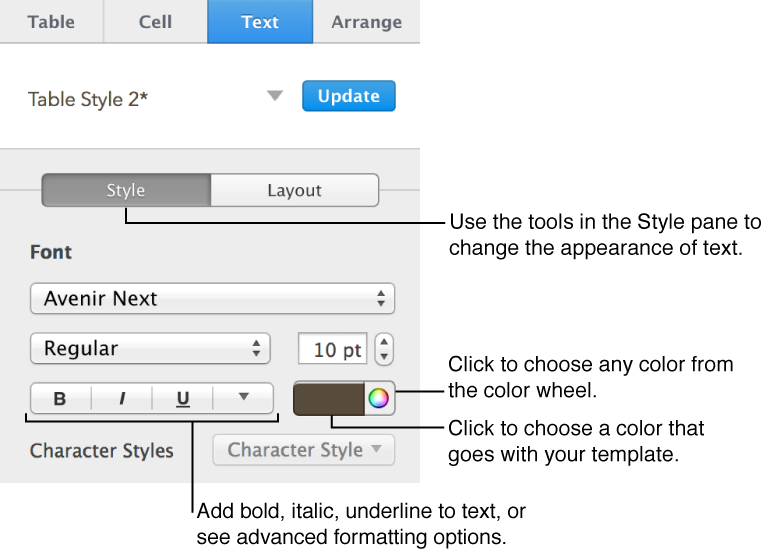 Controls for changing font, type size, and type style.