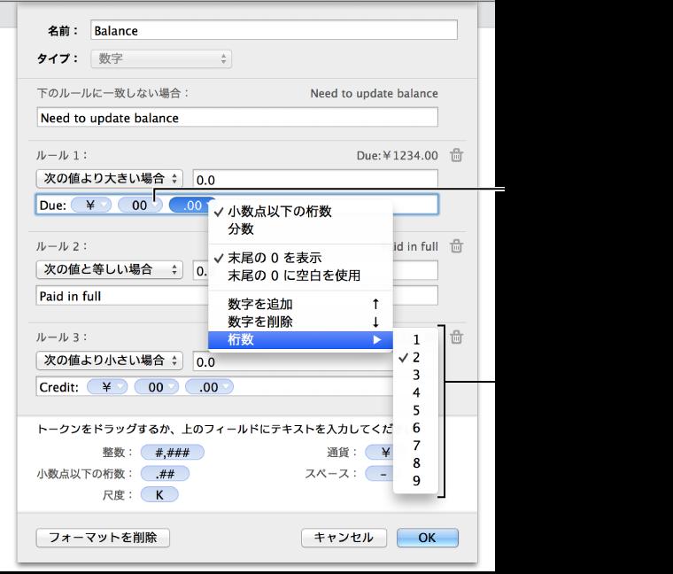 フォーマットオプションを選択するには、トークンの開閉用三角ボタンをクリックします。