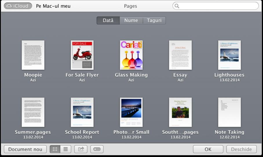 Fereastra de deschidere cu documente Pages afișate.
