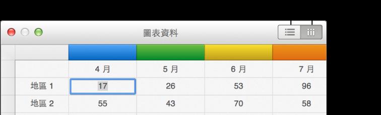 圖表資料編輯器,其中包含繪製橫列和直欄所用的「繪製」按鈕
