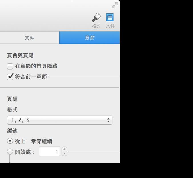 「設定」檢閱器的「章節」面板,其中顯示頁頁、頁尾和頁碼的控制項目。
