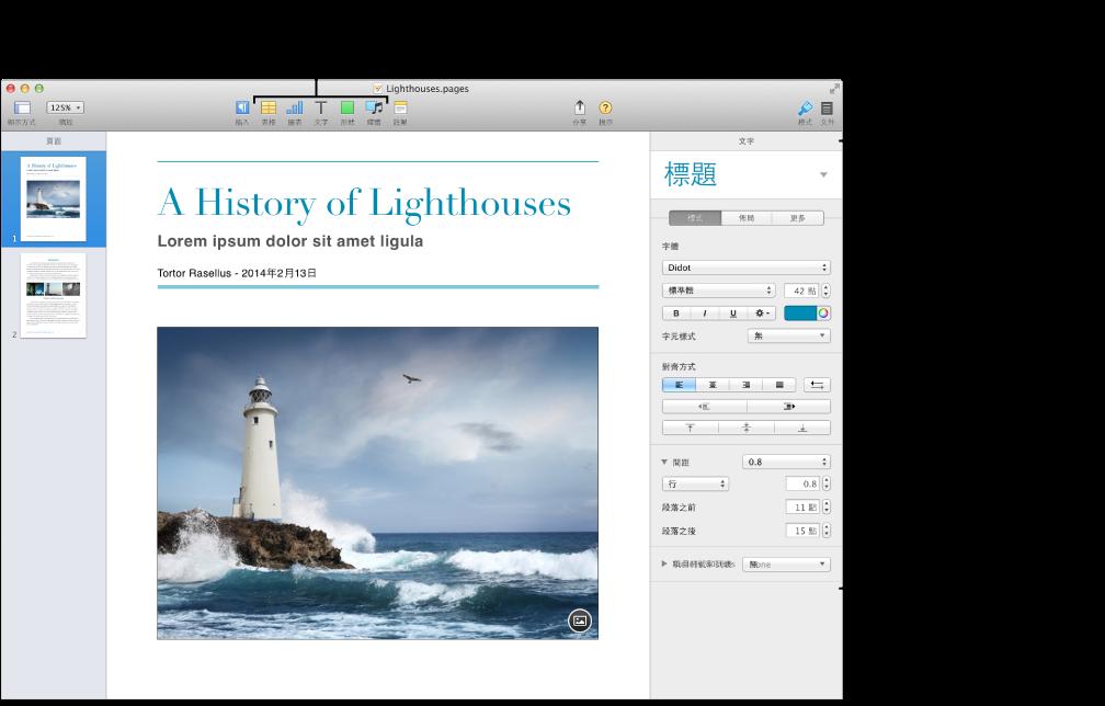 Pages 視窗左側開啟的縮覽圖顯示方式,以及右側開啟的「格式」檢閱器。