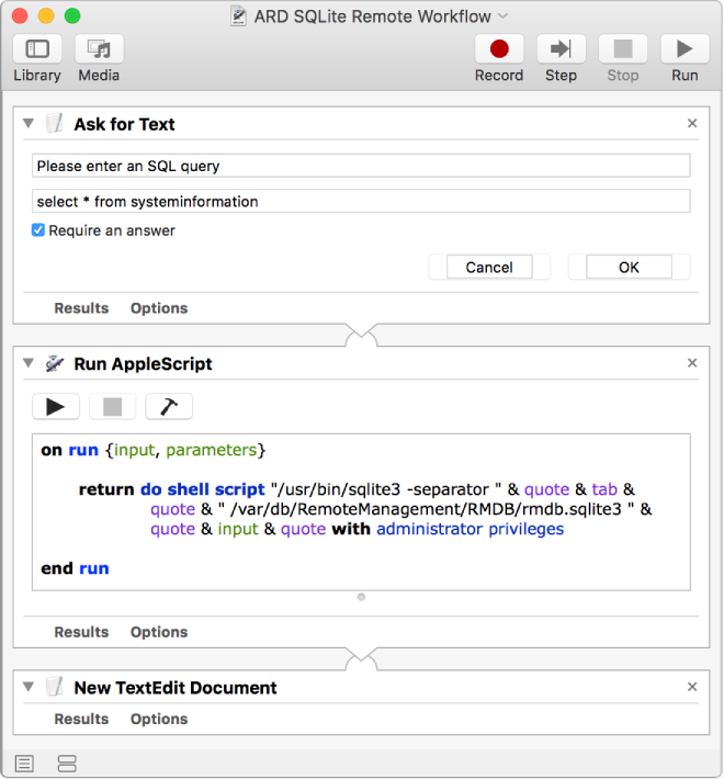 Screenshot of an Automator workflow that asks for an SQL query and executes it.