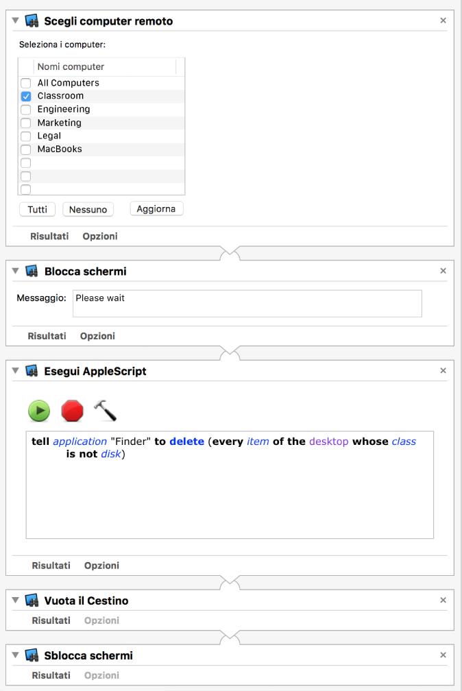 Schermata del flusso di lavoro di Automator scegliendo un elenco di computer, che esegue un AppleScript sui computer ed esegue su essi altre funzioni di Remote Desktop.