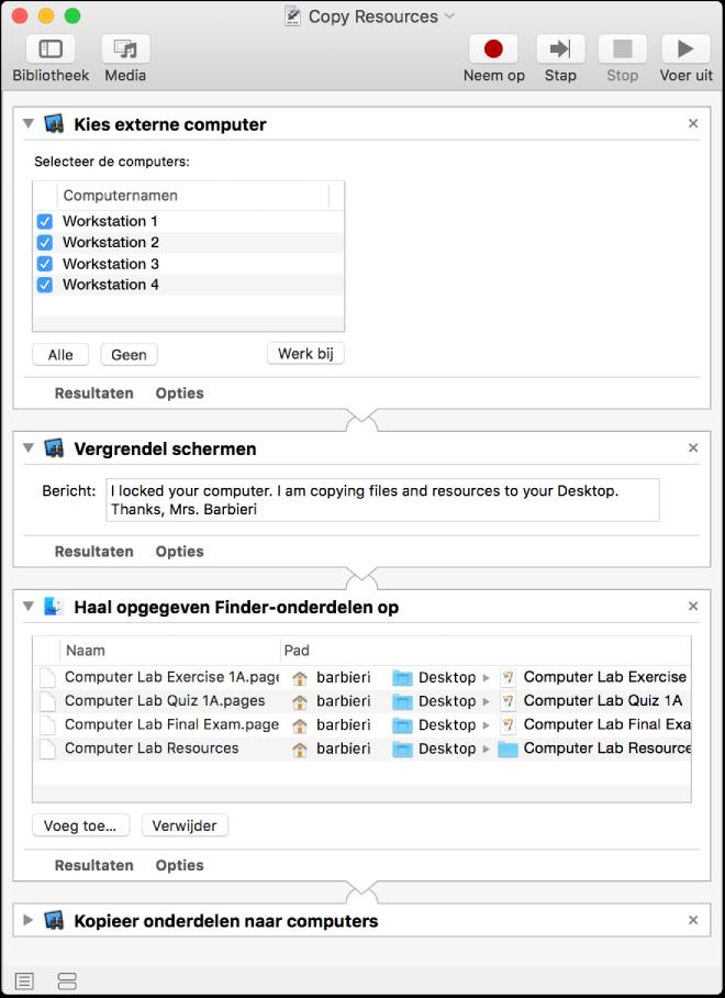 Schermafbeelding van een Automator-takenreeks waarmee het scherm van externe computers wordt vergrendeld en bronnen worden gekopieerd naar het bureaublad van die computers.