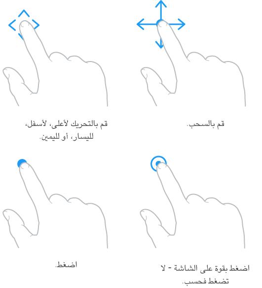 رسوم توضيحية لأربع إيماءات باليد. الأول في الناحية العلوية اليسرى لإصبع يتحرك لأعلى، لأسفل، وعلى الجانبين مع وسيلة الشرح: قم بالتحريك لأعلى، لأسفل، لليسار، أو لليمين. والثاني في الناحية العلوية اليمنى يعرض إصبعًا يضغط باستمرار متحركًا في جميع الاتجاهات مع وسيلة الشرح: Drag. ويعرض الرسم التوضيحي في الناحية السفلية اليسرى لمسة إصبع مع وسيلة الشرح: Tap. ويعرض الرسم التوضيحي في الناحية السفلية اليمنى لمسة مضخمة مع وسيلة الشرح: اضغط بقوة على شاشة العرض-ليس الضغط العادي.