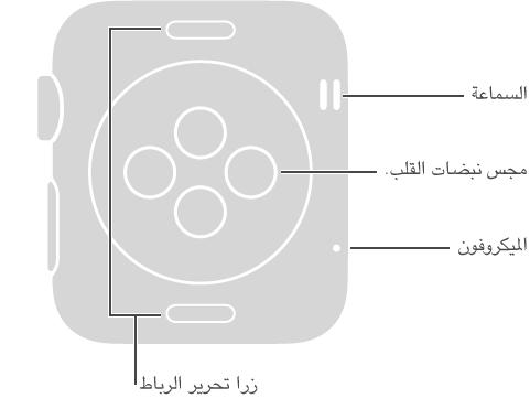 الجانب الخلفي لـ Apple Watch مع وسيلتي الشرح التاليتين للجانب المقابل لـ Digital Crown: السماعة، الميكروفون. وسيلة شرح للزرين الموجودين في الجزئين العلوي والسفلي للجانب الخلفي: زرا تحرير الرباط: اضغط لفك الرباط. وسيلة شرح للمنطقة المرتفعة على شكل قرص في منتصف الجانب الخلفي: مجس معدل نبض القلب ووسادة الشحن.