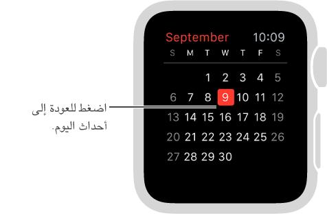 عرض التقويم الشهري ويعرض تقويم الشهر بالكامل مع اليوم الحالي مميز باللون الأحمر. اضغط في أي مكان للرجوع إلى قائمة أحداثك اليومية.
