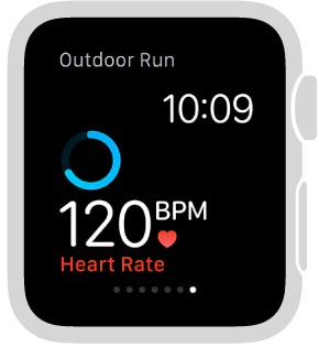 أثناء التمرين، يمكنك تحريك الجزء السفلي من الشاشة للتحقق من معدل نبض القلب.