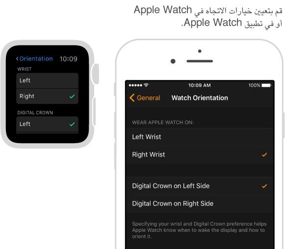 شاشتان متجانبتان تعرضان إعدادات الاتجاه على Apple Watch ونفس الإعدادات في تطبيق Apple Watch على الـ iPhone. يمكنك تعيين تفضيلات المعصم وDigital Crown.