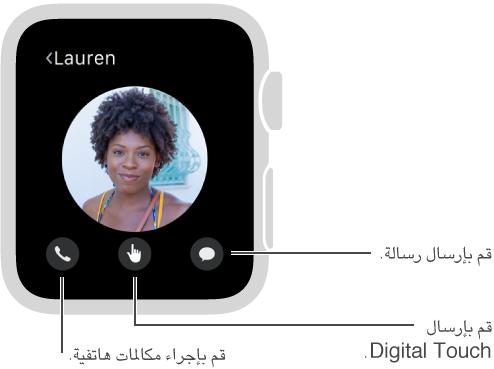 الأزرار الهاتف، Digital Touch، والرسالة تظهر في أسفل الشاشة، تحت صورة صديقك.