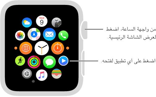 الشاشة الرئيسية على Apple Watch والتي تضغط فيها على أي تطبيق لفتحه. اضغط على Digital Crown من واجهة الساعة لفتح الشاشة الرئيسية.