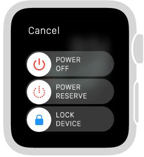 شاشة أشرطة التمرير مع الزر Cancel في الزاوية العلوية اليسرى وثلاثة أشرطة تمرير: Power off في الأعلى، Power Reserve في المنتصف، وLock Device في الأسفل.