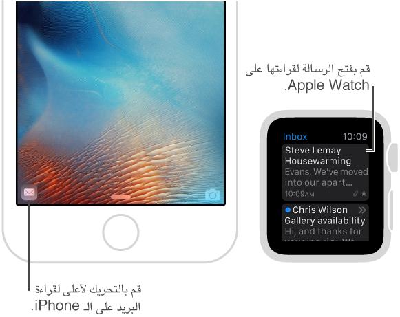 عندما تريد قراءة رسالة على الـ iPhone، قم بتحديدها على Apple Watch ثم قم بتحريك أيقونة البريد لأعلى في الزاوية السفلية اليسرى لقفل الشاشة على الـ iPhone.