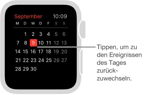 In der Monatsansicht sehen Sie den Kalender für den ganzen Monat, wobei der heutige Tag rot markiert ist. Tippen Sie in der Monatsansicht an einer beliebigen Stelle, um eine Tagesliste der Ereignisse anzuzeigen.