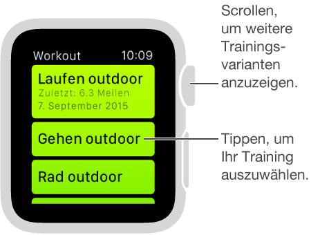 """Tippen Sie in der App """"Workout"""" auf ein Training und drehen Sie die Digital Crown, um eine Liste der unterschiedlichen Trainingseinheiten anzuzeigen."""