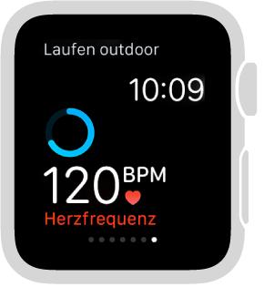 Sie können während des Trainings unten auf dem Bildschirm streichen, um Ihre Herzfrequenz anzuzeigen.