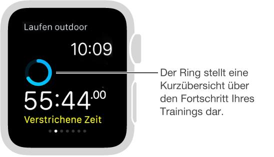 Sie können während des Trainings auf dem Bildschirm streichen, um Ihren Fortschritt anzuzeigen oder Ihre Herzfrequenz zu messen.