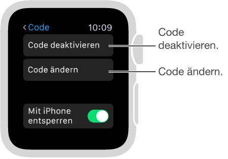 """Bildschirm mit den Codeeinstellungen auf der AppleWatch. Pfeil auf """"Code deaktivieren"""" und """"Code ändern""""."""