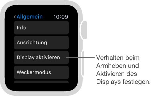"""Der Bildschirm mit den allgemeinen Einstellungen auf der AppleWatch und Pfeil zur Option """"Beim Armheben"""". Zum Einstellen tippen."""