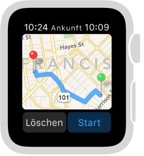 """Wenn Sie eine Route eingeben, zeigt """"Karten"""" einen Routenvorschlag an und darunter die Tasten """"Löschen"""" und """"Start""""."""