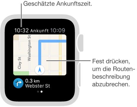 Während Sie der Wegbeschreibung folgen, wird Ihre geschätzte Ankunftszeit oben links angezeigt. Sie können jederzeit die Routenbeschreibung abbrechen, indem Sie auf den Bildschirm drücken.