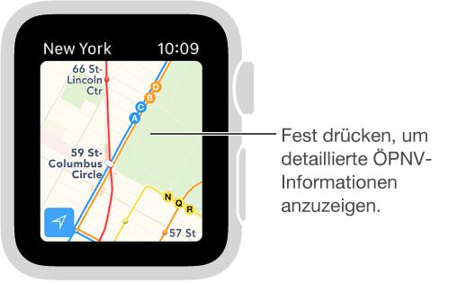 Zu den ÖPNV-Informationen gehören Strecken und Namen der Haltestellen.