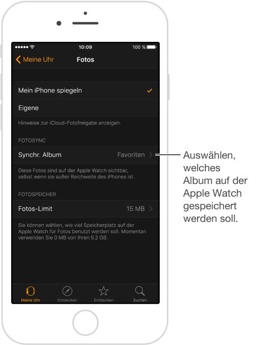 """Verwenden Sie die Einstellung """"Synchr. Album"""" in den Fotoeinstellungen der App """"AppleWatch"""", um die Fotos auszuwählen, die auf der AppleWatch gespeichert werden sollen."""