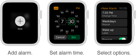 Five watch screens showing the process for adding an alarm: Press to add alarm, turn Digital Crown to set the time, set options in settings, set repeat options, and turn on Snooze.