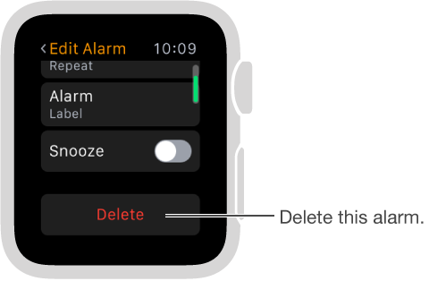 Edit alarm screen, where you scroll to the bottom to delete an alarm.