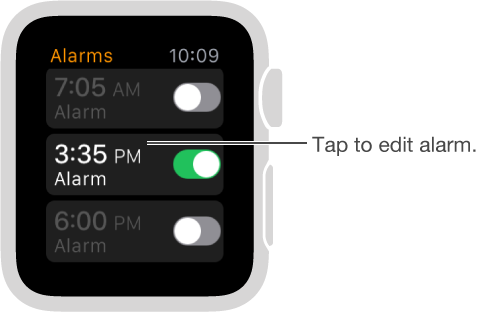 Alarms screen with three alarms and switches to turn them on or off.