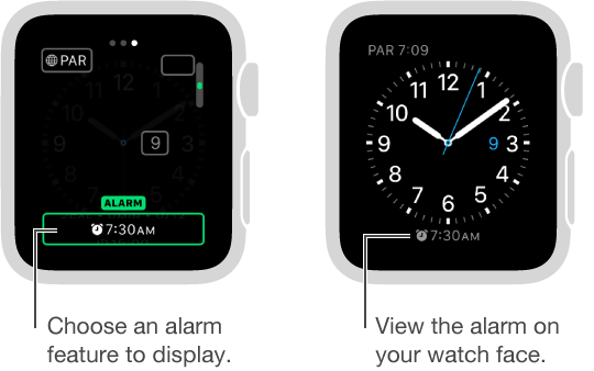 Two screens, one showing how you set an option to add an alarm to your watch face, the other showing the alarm time displayed on the watch face.