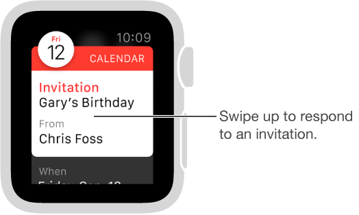 Accept, Maybe, and Decline buttons are at the bottom of calendar invitations. Swipe or turn the Digital Crown to go to them.