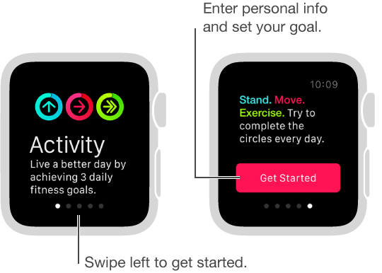In the Activity app, you can set 3 daily fitness goals: Stand, Move, and Exercise.